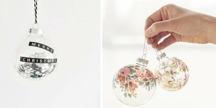 Idee per decorare le palline di Natale con scritte e disegni di fiori