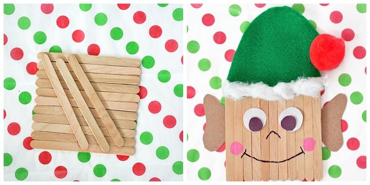 Idee natalizie da creare con i bastoncini di legno, un elfo con cappellino di feltro verde