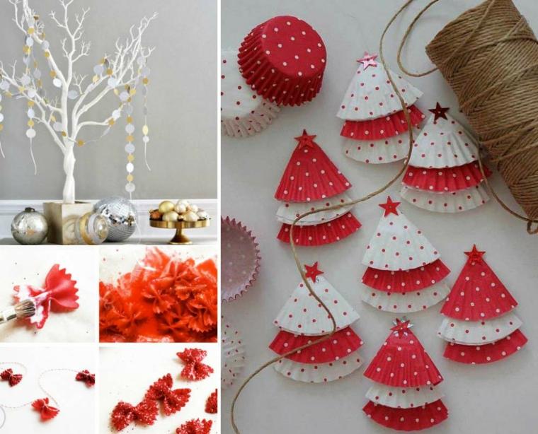 Vati ornamenti per decorare la casa a Natale con pasta dipinta e ghirlande di carta