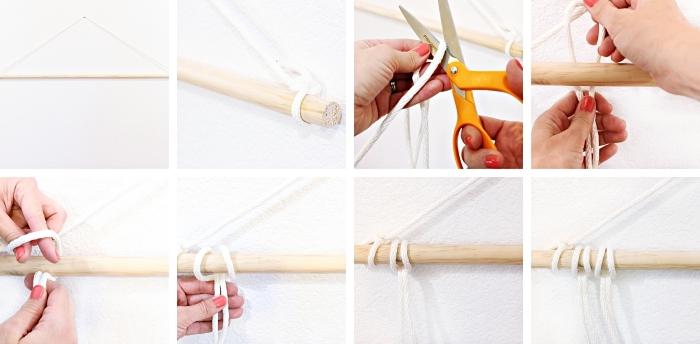 Idea macramè tutorial con corda bianca e un bastone di legno