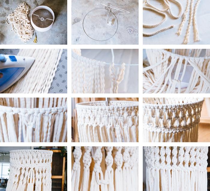 Idea per dei macramè a sospensione con corda bianca e tessuto
