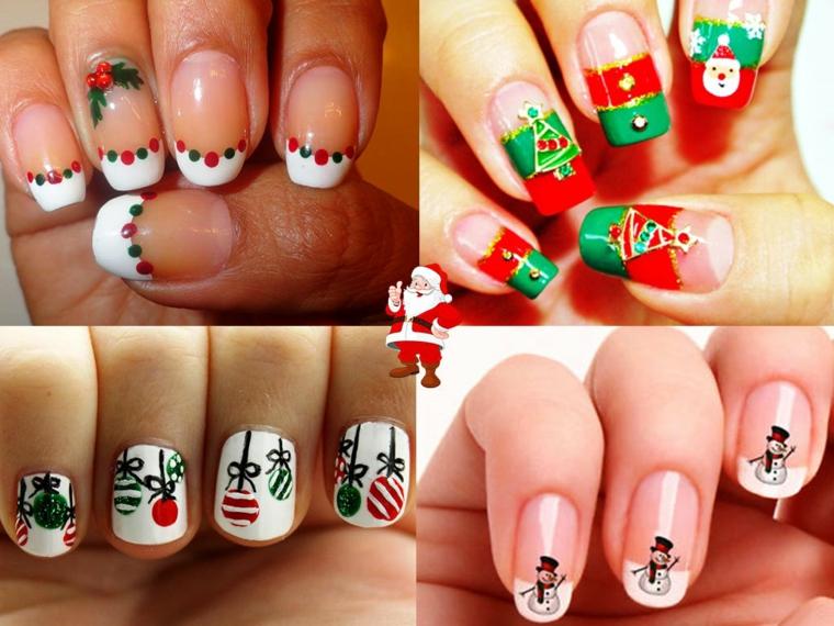 Idea unghie gel bianche decorate con sticker, disegni ghirlande e pupazzi di neve