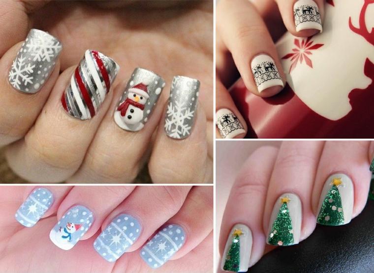 Quattro idee di manicure natalizia con unghie lunghe decorate con disegni