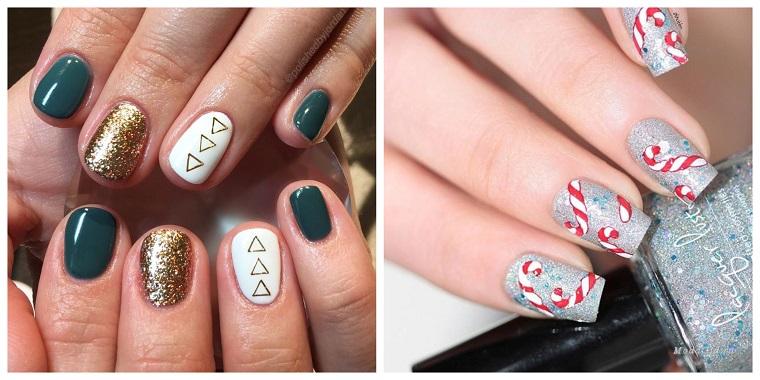 Idea smalto grigio sugar con sticker e disegni di forme geometriche per la manicure natalizia