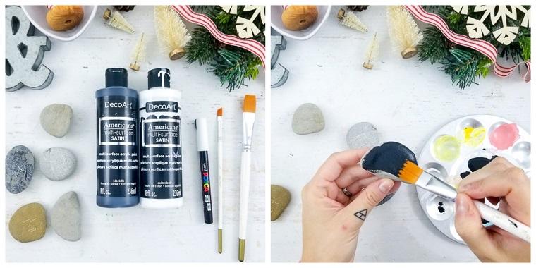 Lavoretti di Natale facili con sassi e colori acrili, dipingere le pietre con pennello
