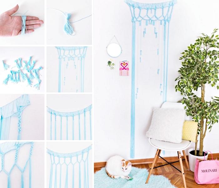 Pizzo macramè con corda di colore blu, tutorial per la realizzazione di una decorazione a sospensione