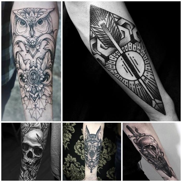 Quattro tatto di animali, forme geometriche e gufo, tatuaggi sulla spalla uomo