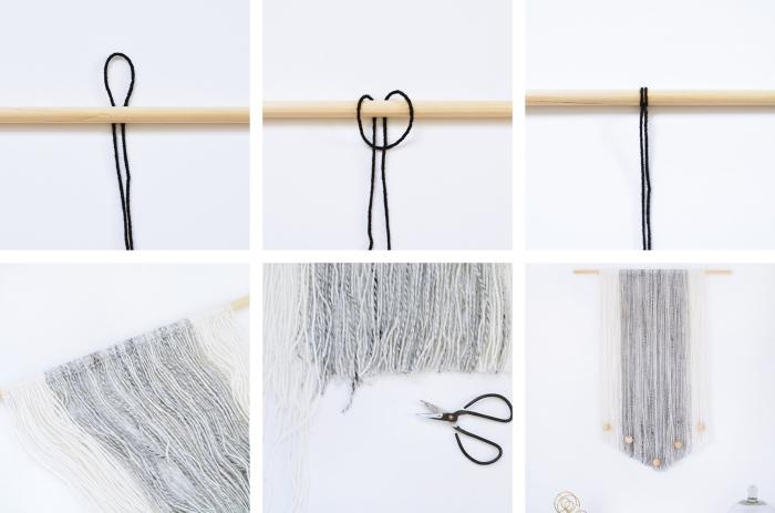 Merletti e pizzi e un tutorial con un filo nero e bastone di legno, macramè con un nodo semplice