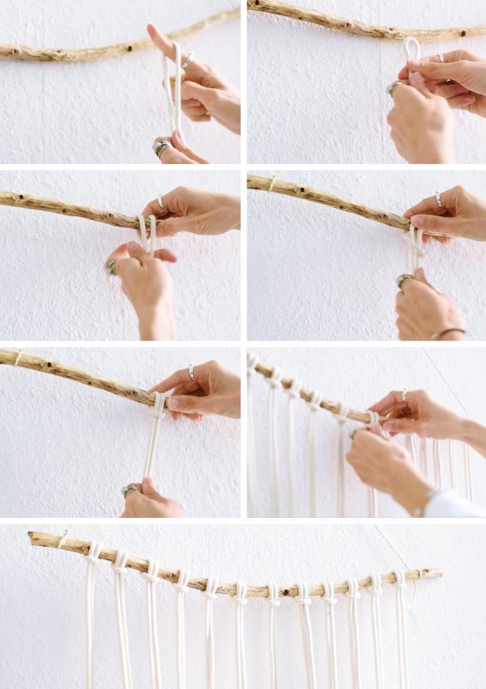 Idea per macramè tutorial con corda bianca e un bastone di legno