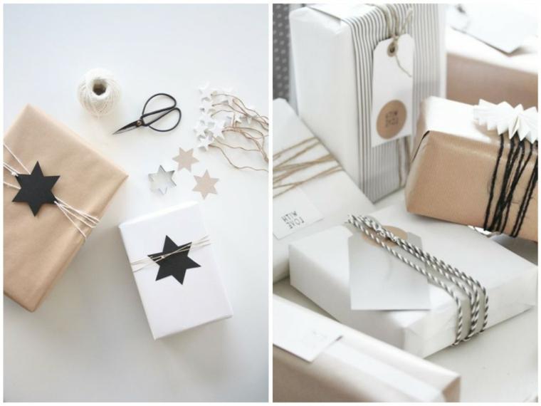 Regali incartati e decorati con un filo di stelle e cartoline
