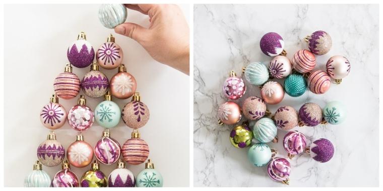 Disporre le palline natalizie in modo da creare un albero di Natale