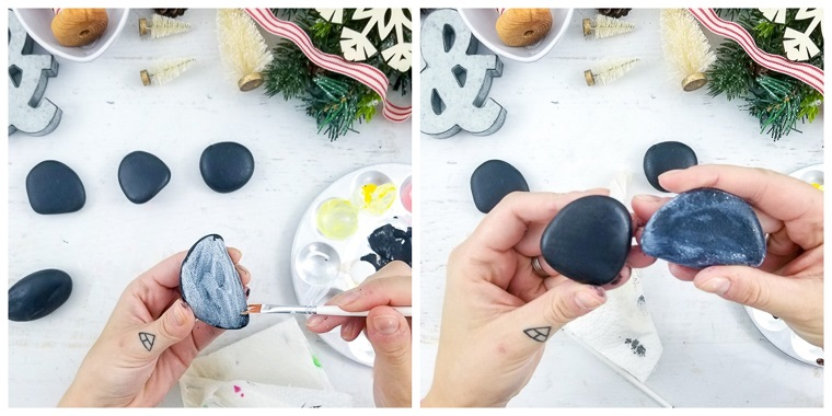 Creazioni di Natale fatte a mano con pietre colorate di nero e poi di bianco