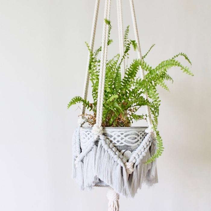 Un vaso con pianta verde sostenuto da un portavaso di macramè