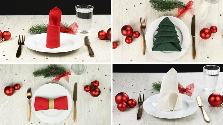 Idea per i segnaposti natalizi con tovaglioli piegati e palline sui piatti