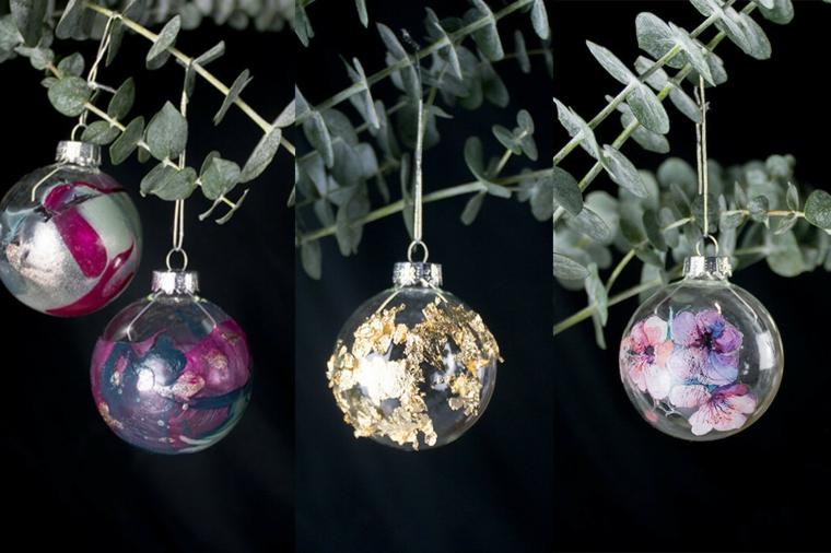 Decorazioni natalizie fai da te per la casa e un'idea con palline decorate a mano