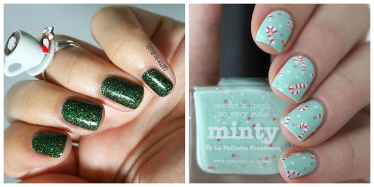 Due proposte per dipingere le unghie a Natale con smalto verde glitter e uno azzurro con sticker di bastoncini
