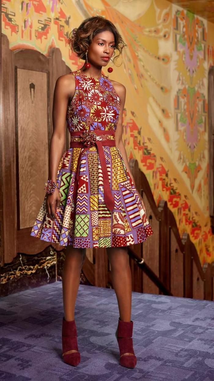 Idea per abiti africani femminili, vestito a ruota e manica corta con fascia in vita