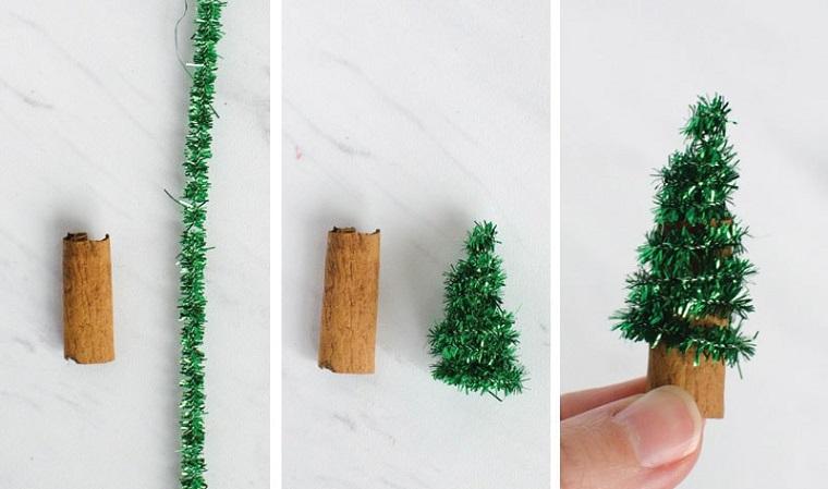 Tappo di sughero con ghirlanda verde per creare un piccolo albero di Natale