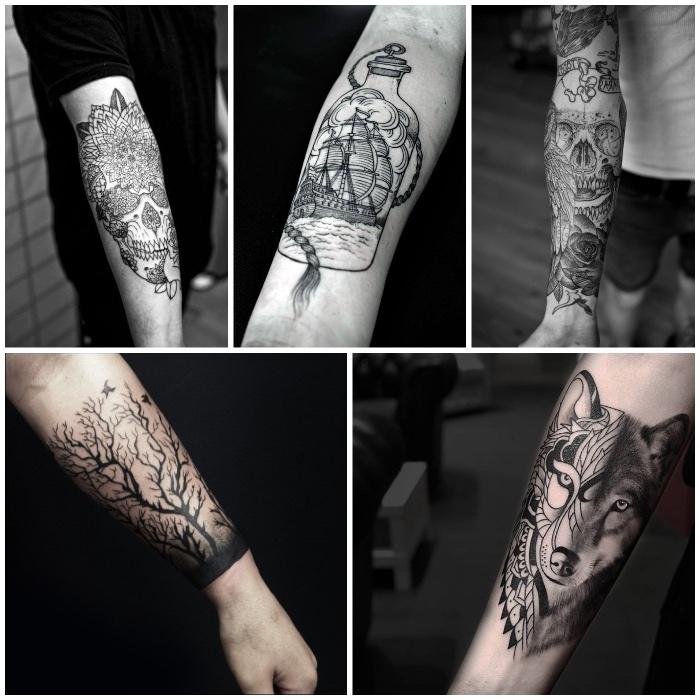 Idee tatuaggi uomo con motivi mandala e animali sull'avambraccio