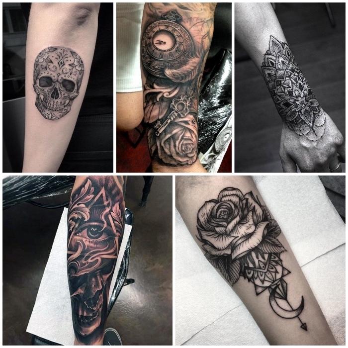 Tattoo old school braccio con disegni di teschi, fiori e motivi mandala