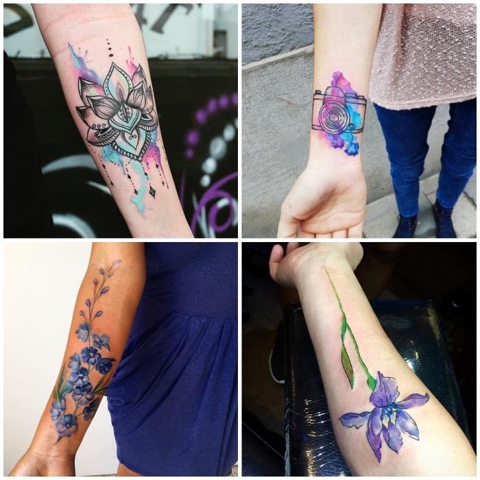 Idea per tatuaggio avambraccio femminile con motivi mandala colorati e fiori di lavanda
