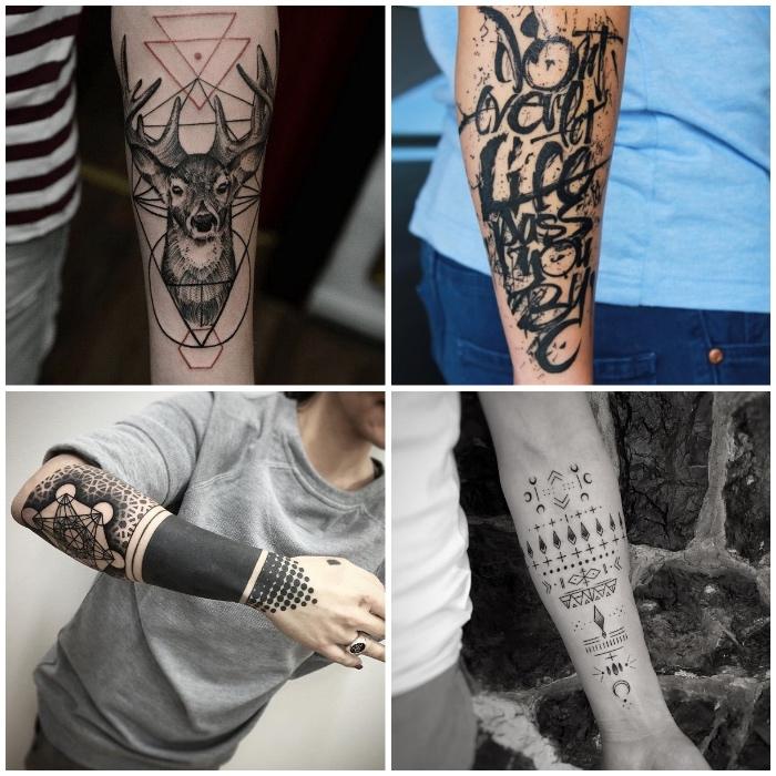 Idee tatuaggio uomo con quattro tatto di con scritte, forme geometriche e animali