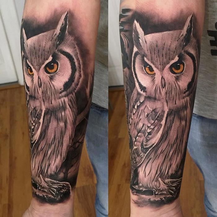 Idea per il tattoo avambraccio di un uomo con il disegno di un gufo