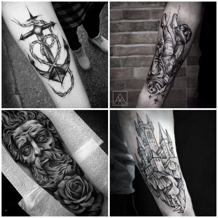 Tattoo old school braccio uomo con motivi di ancora e religiosi