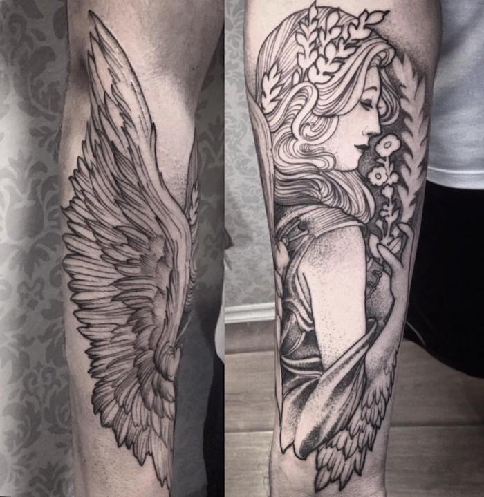 L'avambraccio di un uomo con il disegno di ali di angelo e viso di una donna