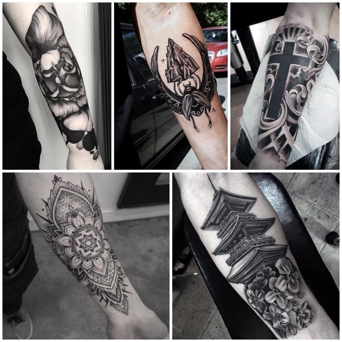 Tattoo old school braccio con il motivi mandala e religiosi