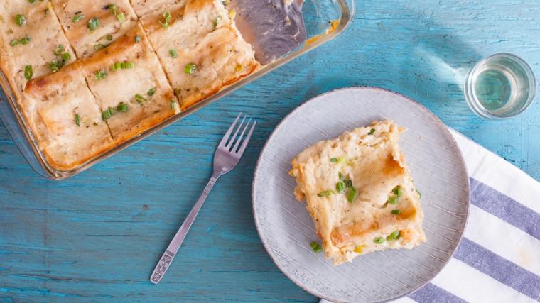 Un secondo natalizio con lasagna ai frutti di mare e sugo bianco di formaggi