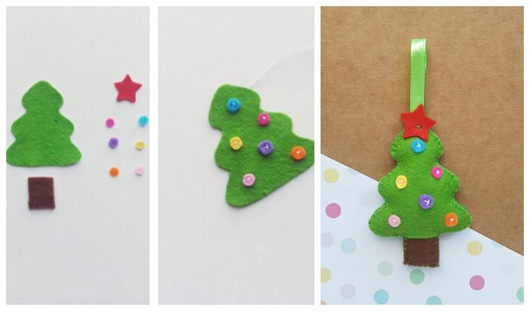 Addobbi natalizi da appendere all'albero di Natale e un'idea con ornamento di feltro