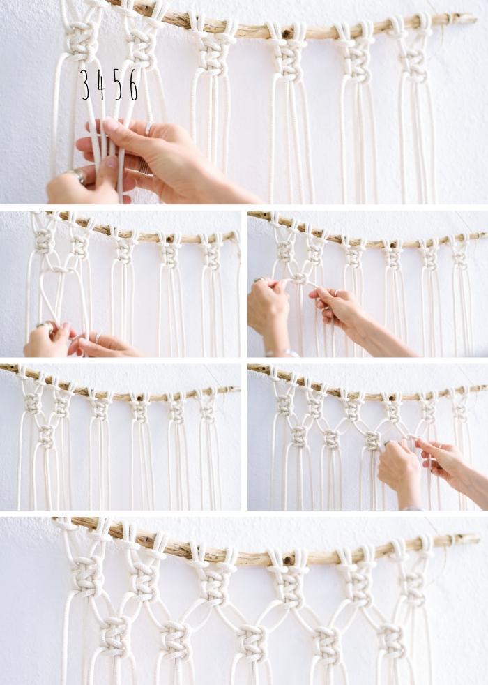 Merletti e pizzi con macramè, tutorial con un pezzo di legno e corda bianca