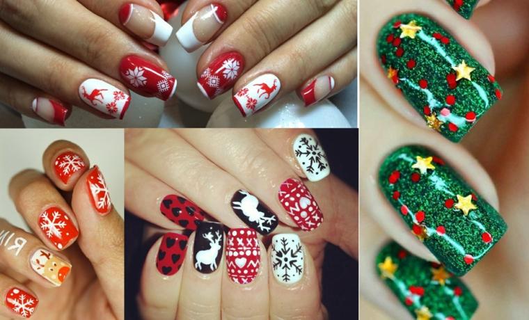 Decorazioni unghie gel con sticker a tema natalizio con renne e fiocchi di neve