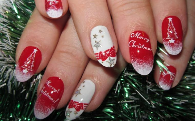 Idea per la decorazione delle unghie gel bianche con smalto rosso e sticker con scritte
