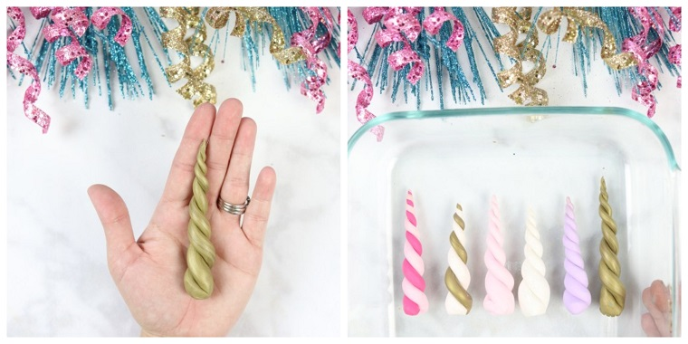 Idea per dei decori natalizi fai da te, pongo di colore oro nella forma di un corno