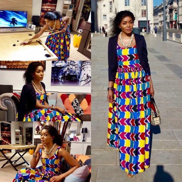 Abiti africani femminili e una ragazza con vestito lungo colorato