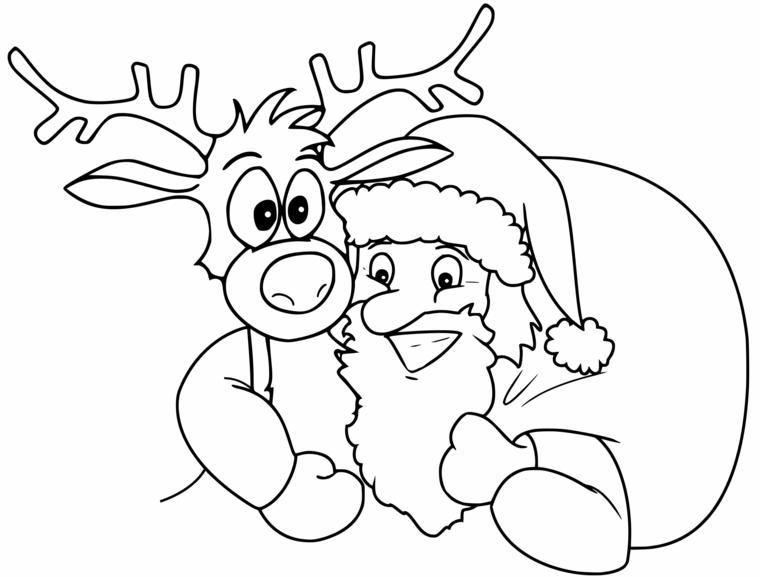 Renna da colorare, Babbo Natale con sacco, disegno di Natale