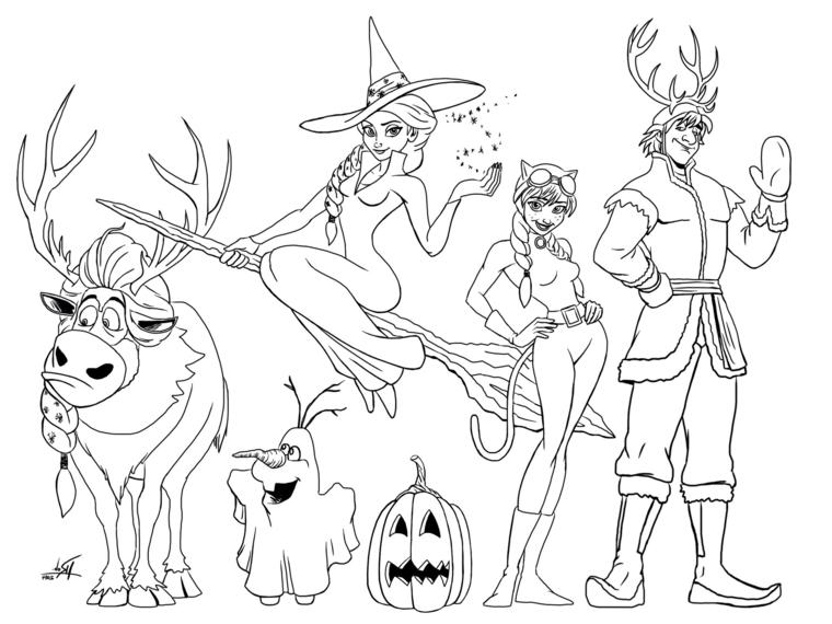Disegni da stampare, i personaggi di Frozen disegnati a matita, pupazzo di neve da colorare
