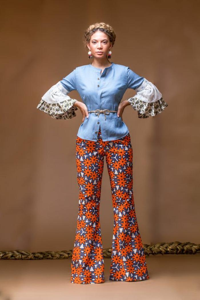 Moda femminile con un pantalone palazzo, camicia in jeans manica peplum