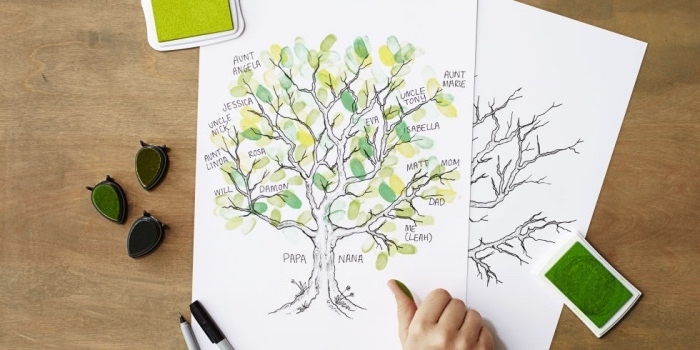 Regalini fai da e un'idea con il disegno di un albero genealogico con foglie verdi