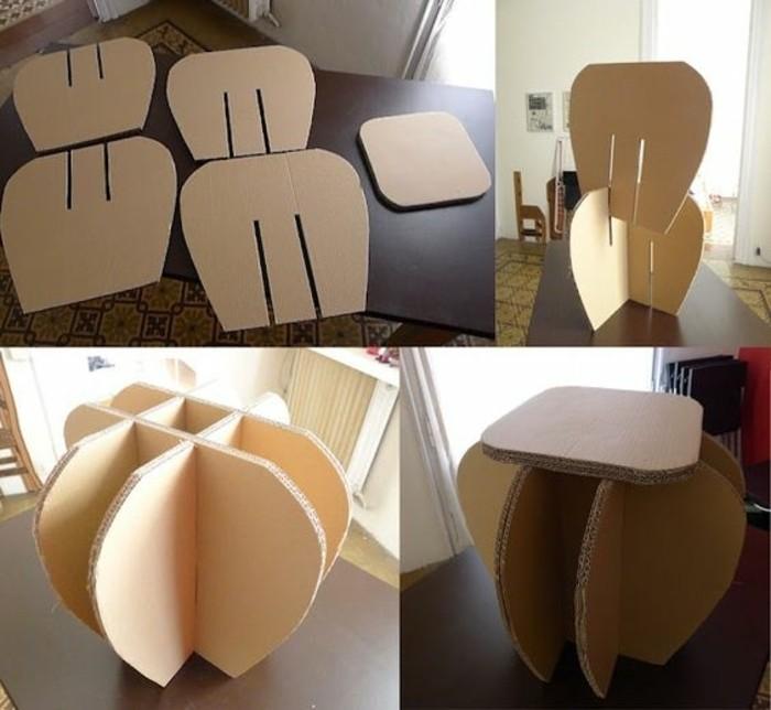 Mobili di design e un'idea per costruire un tavolino e sedia di cartone