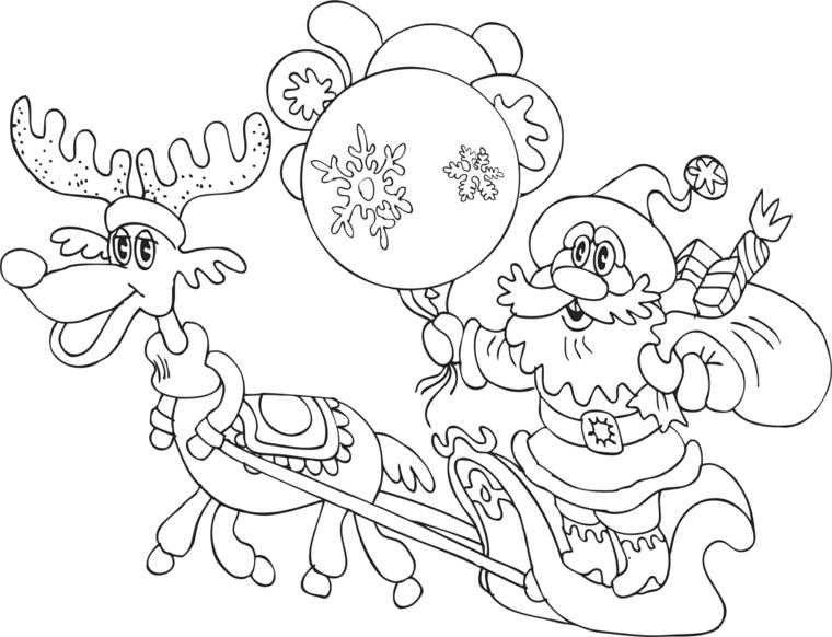 Disegno di Babbo Natale, renna che tira la slitta, colorare disegno natalizio