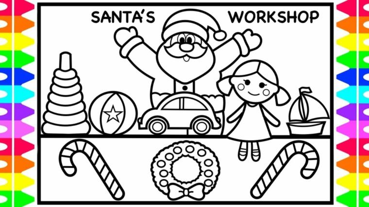 Immagini natalizie da stampare, Babbo Natale con braccia aperte, giocattoli e una bambina