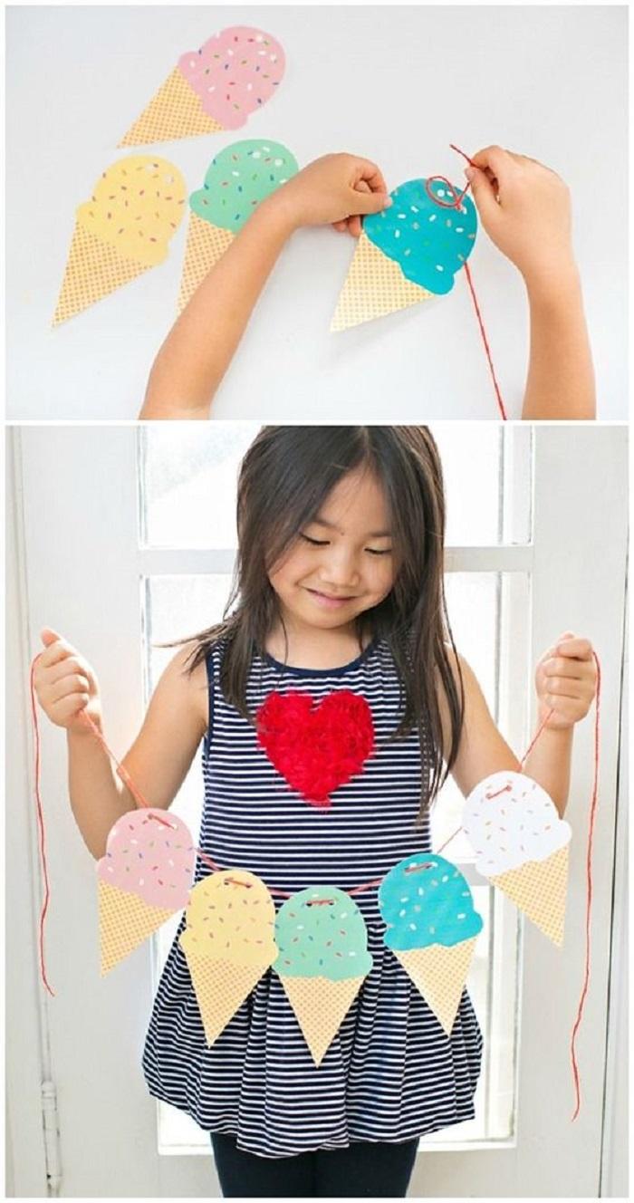 Regalini fai da te con una ghirlanda di gelati colorati di cartoncino