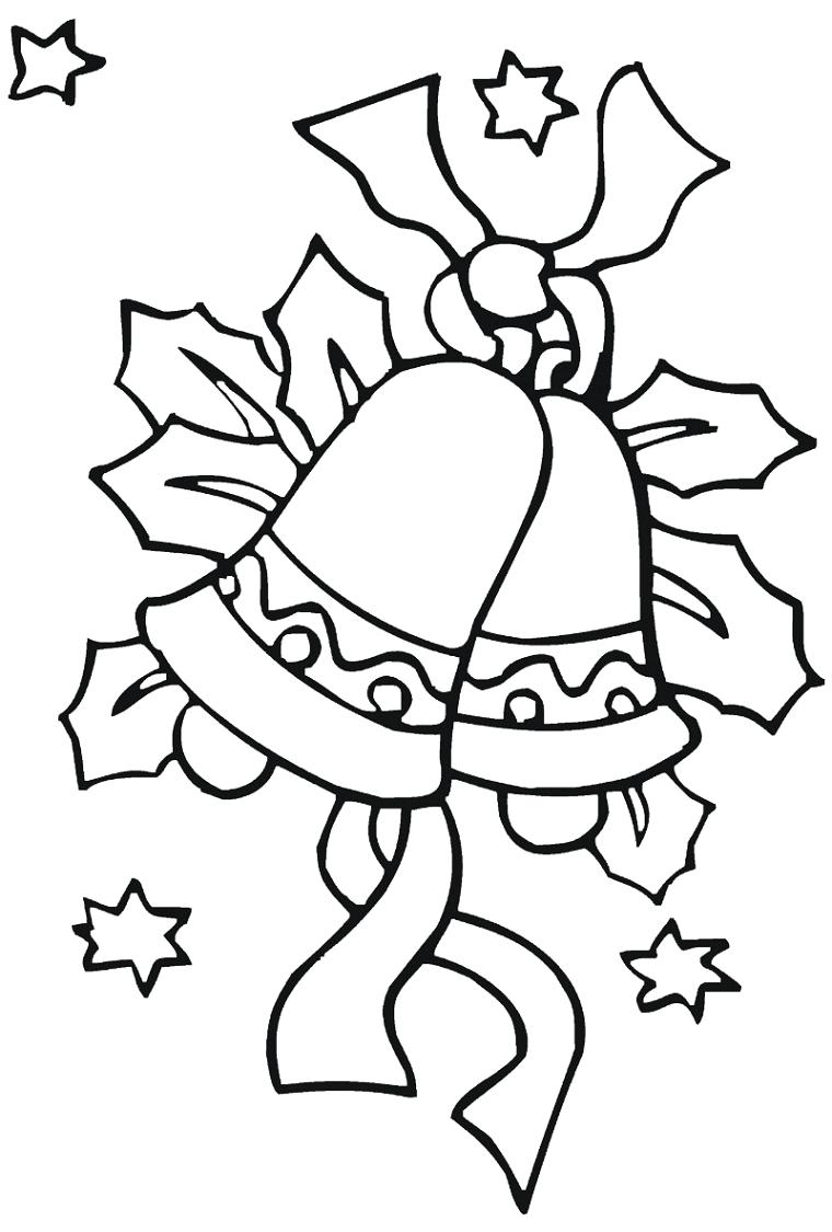Disegno con ornamenti natalizi, campanella con nastro e stelle