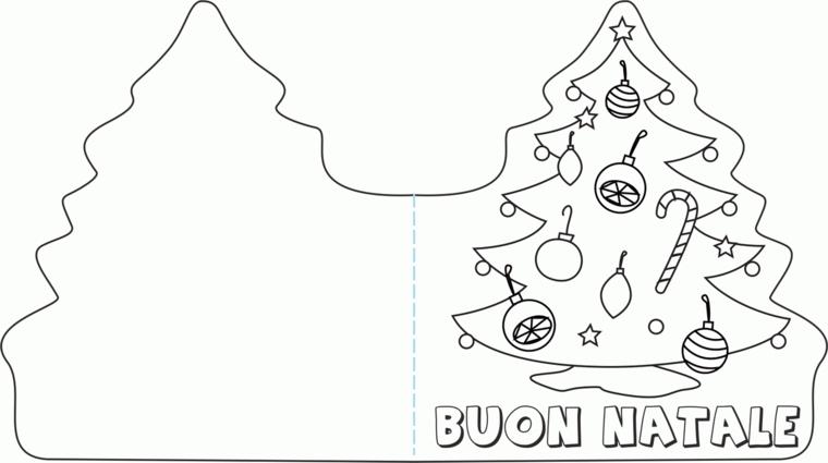 Disegni da copiare, albero di Natale addobbato, cartolina da piegare e ritagliare