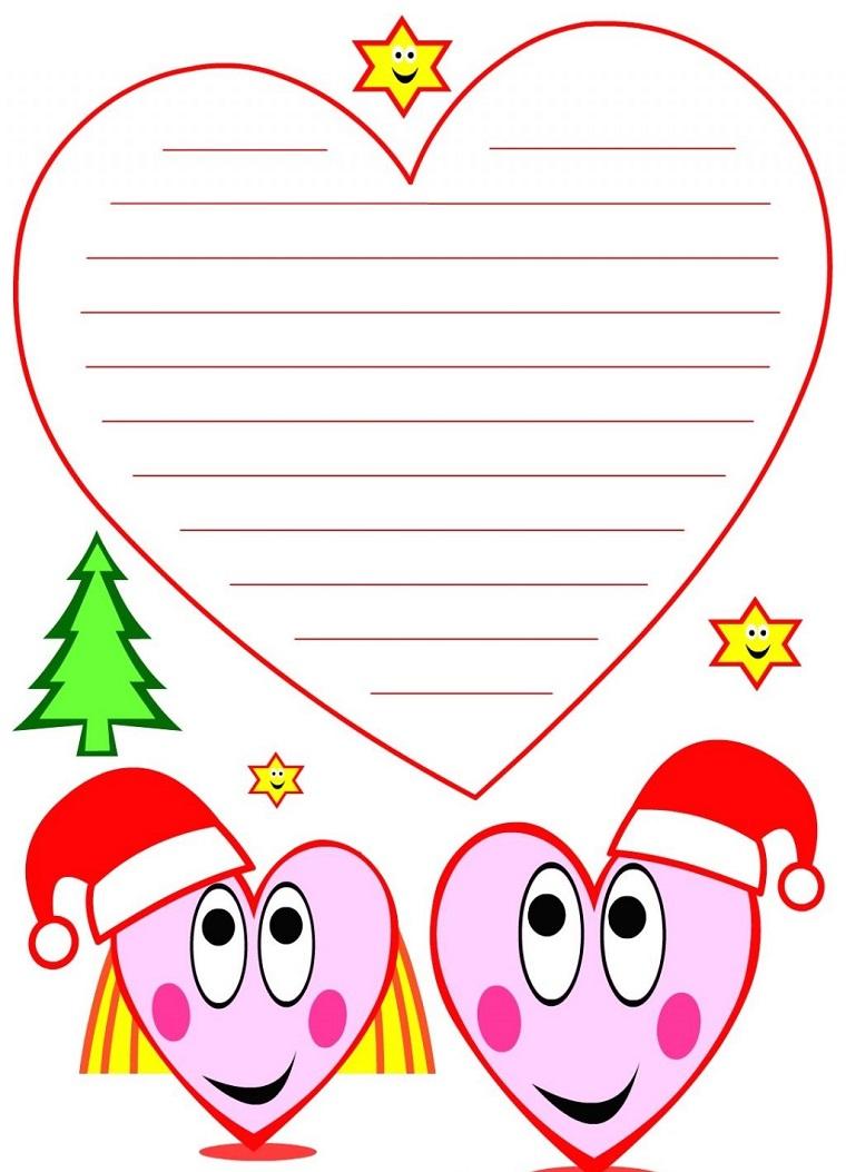 Biglietti di Natale da colorare, cartolina con righe per scrivere, due cuori colorati con cappellini