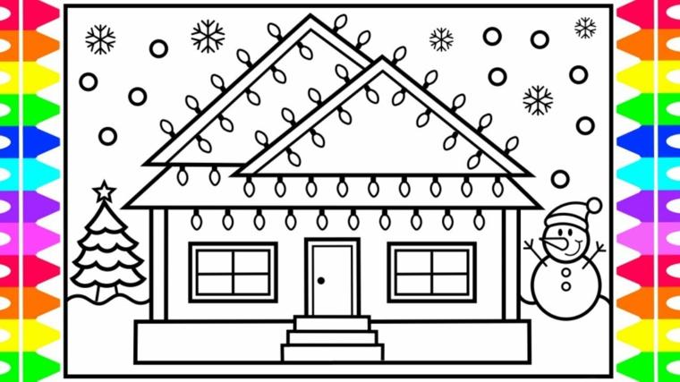 Casa con lampadine, immagini natalizie da colorare, pupazzo di neve, albero di Natale con stella in cima