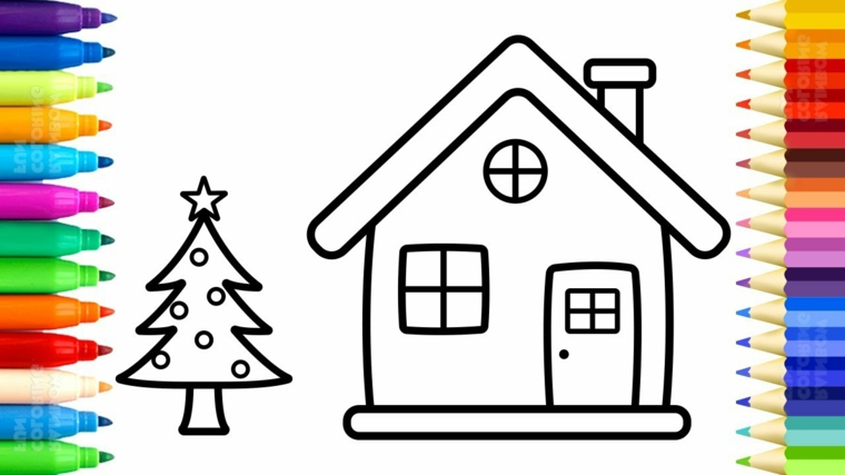 Pennarelli e matite colorate, casa con tetto, disegni da stampare